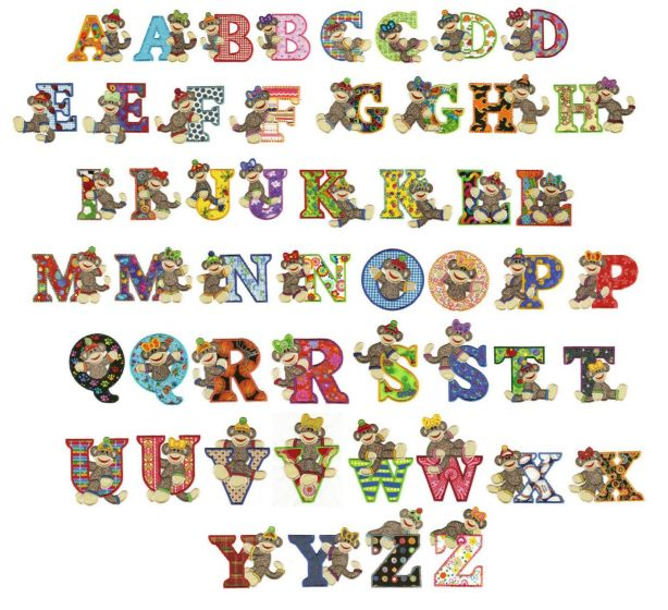 Sock monkeys applique alphabet font monogram machine embroidery designs 4x4