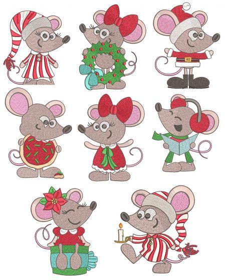 Christmas Mice Filled Stitch Machine Embroidery Designs By JuJu
