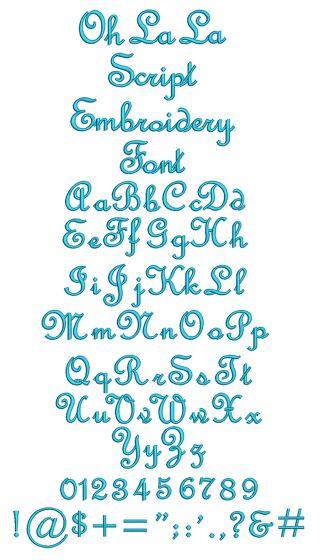 Oh La La Font Machine Embroidery Designs by JuJu