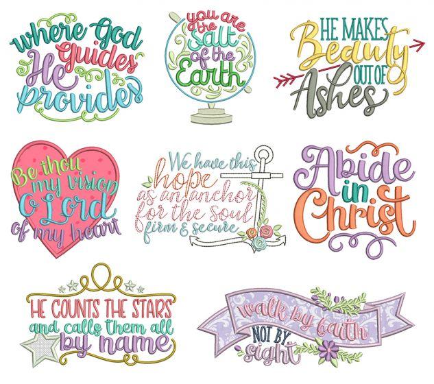 Biblical Sayings 1 Machine Embroidery Designs by JuJu