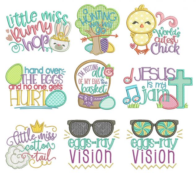 Easter Word Art Machine Embroidery Designs By JuJu