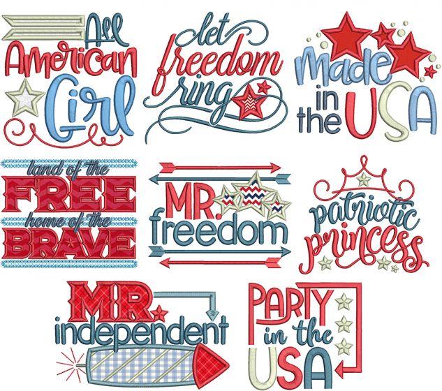 Patriotic Word Art 2 Machine Embroidery Designs By JuJu