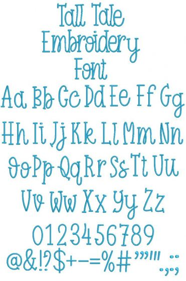 Tall Tale Embroidery Font
