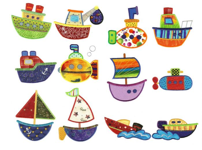 Boats ships and sailboats applique embroidery designs