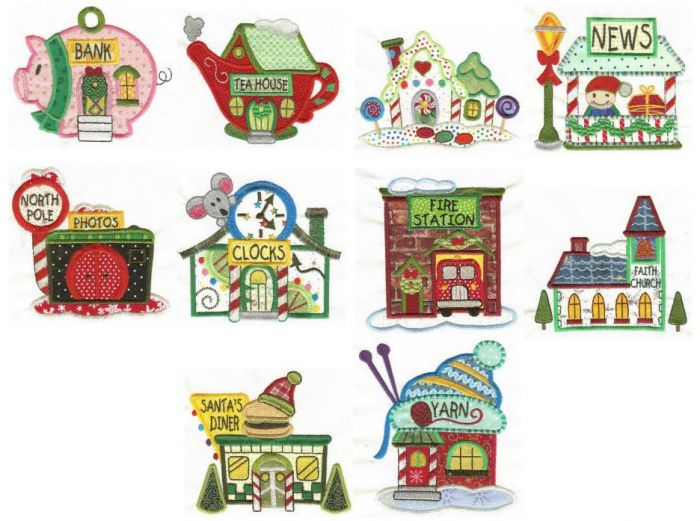 North Pole Village Applique Set 3