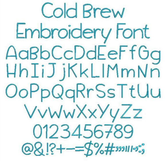 Cold Brew Embroidery Font