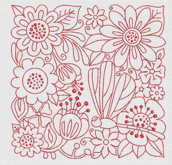 Free Redwork Garden Block Machine Embroidery Designs by JuJu