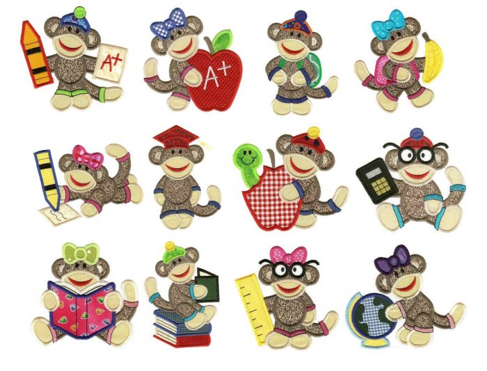 School sock monkeys applique jumbo embroidery designs