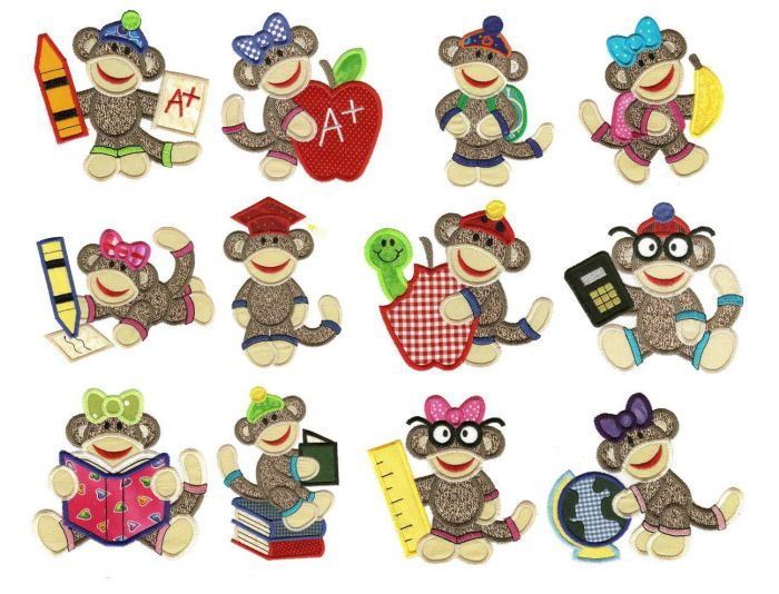 School sock monkeys applique machine embroidery designs