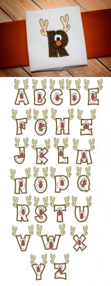 Reindeer Applique Alphabet Machine Embroidery Designs by JuJu