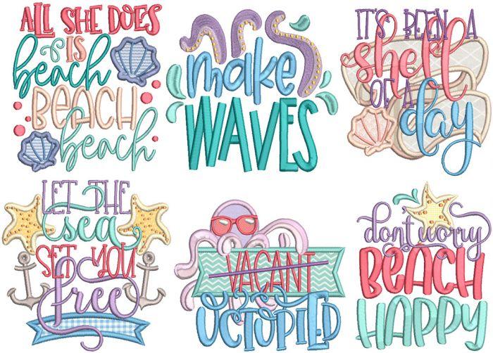 Sassy Seaside Beach Word Art Machine Embroidery Designs by JuJu