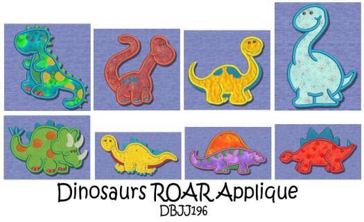 Dinosaurs ROAR applique 4x4 5x7