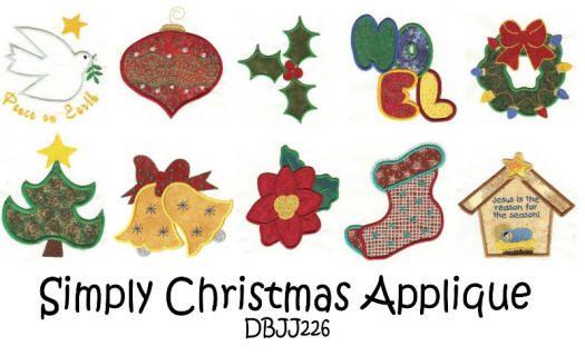 Simply Christmas Applique 4x4 and 5x7