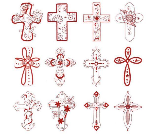 Religious Christian crosses redwork machine embroidery designs