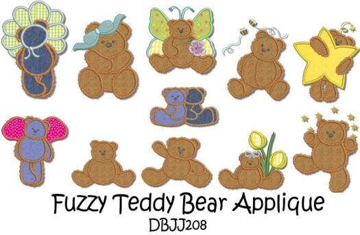 Fuzzy Teddy Bear Applique 5x7 hoop