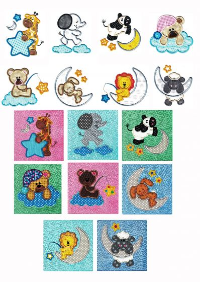 Sleepy Time Critters Applique Set 1 Machine Embroidery Designs by JuJu