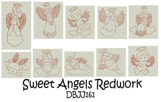 Sweet Angels Redwork
