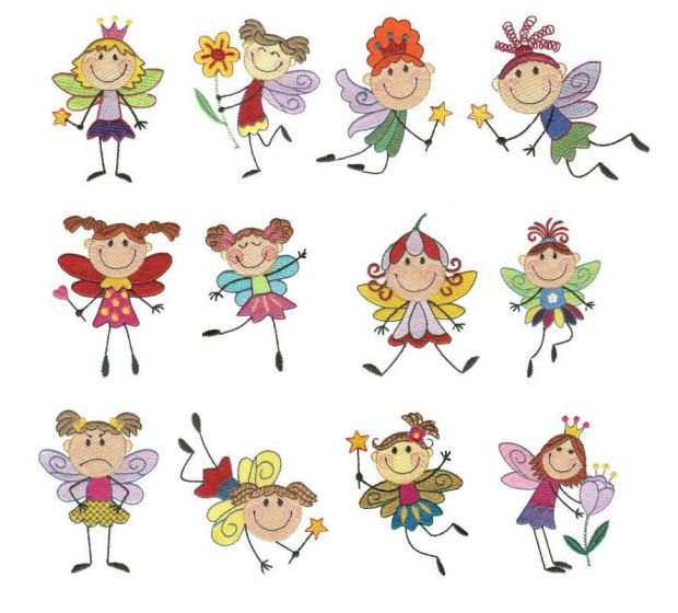 Meet the stix fairies filled machine embroidery designs