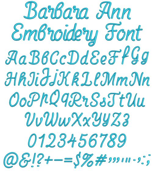 Barbara Ann Embroidery Font