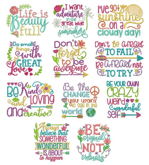 Inspired Sayings Set 3 Machine Embroidery Designs by JuJu