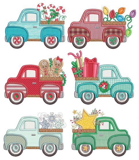 Vintage Trucks Christmas Applique