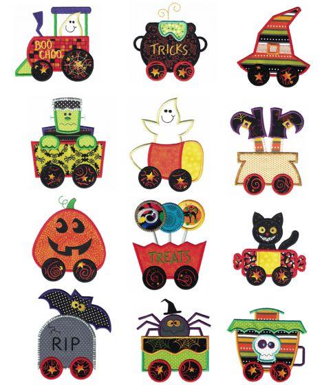 Halloween Train Applique Machine Embroidery Designs by JuJu