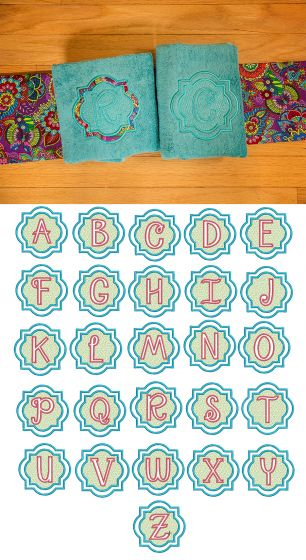Quatrefoil Embossed Monogram Alphabet Machine Embroidery Designs by JuJu