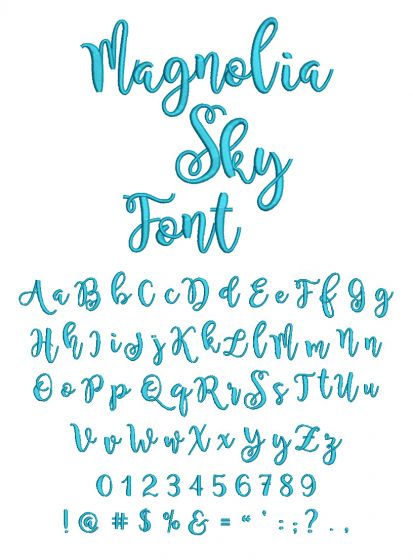 Magnolia Sky Embroidery Font Machine Embroidery Designs by JuJu