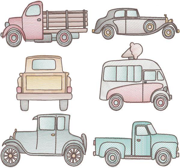 Vintage Sketch Vehicles