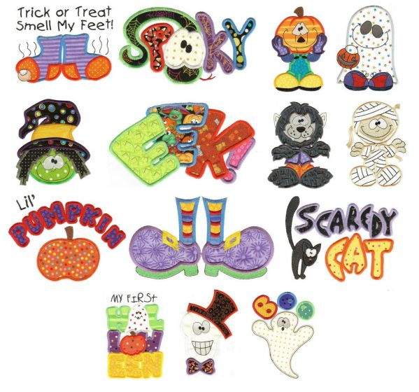 Trick treat halloween applique machine embroidery designs