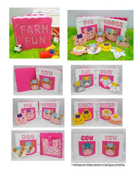 Designs by JuJu Machine Embroidery Designs In The Hoop Farm Fun Busy Book Set 2