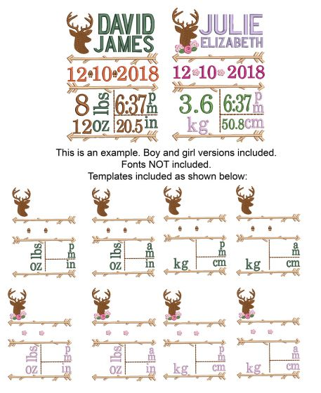 Rustic Woodland Deer Silhouette Birth Announcement Template Machine Embroidery Designs by JuJu