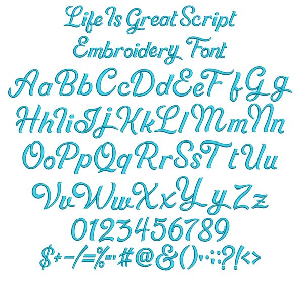 Life is Great Script Embroidery Font Machine Embroidery Designs by JuJu