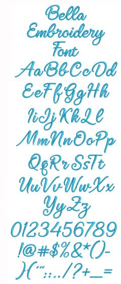 Bella Embroidery Font Designs by JuJu Machine Embroidery