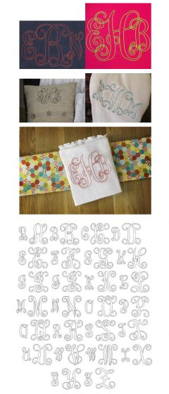 Bean floss stitch vine monogram machine embroidery alphabet font