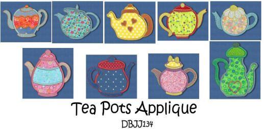Tea Pots Applique 4x4 and 5x7