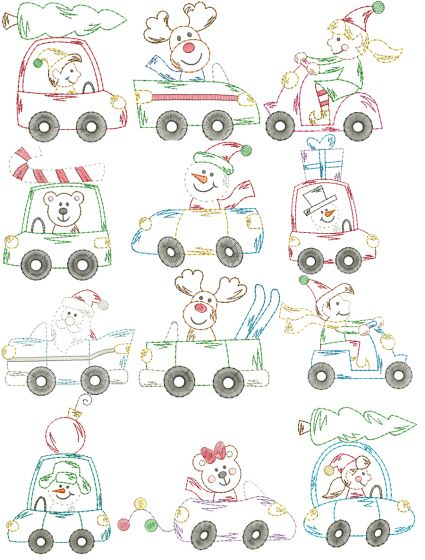 Christmas Cars Vintage Stitch Machine Embroidery Designs by JuJu