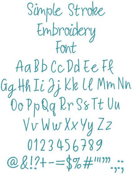 Simple Stroke Font Digital Machine Embroidery Designs by JuJu