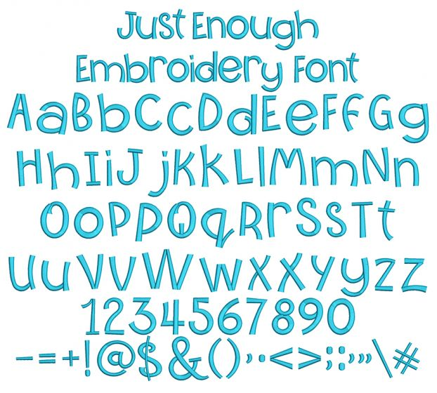Just Enough Embroidery Font Machine Embroidery Designs by JuJu