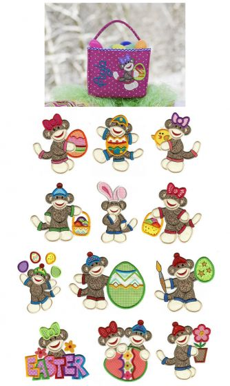 Cute Easter sock monkeys applique machine embroidery designs