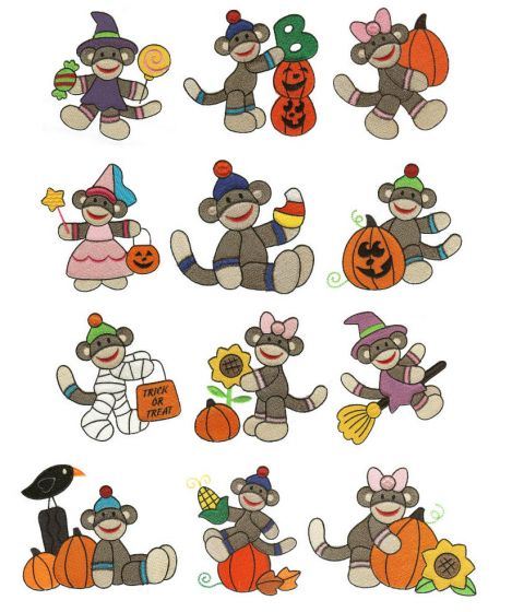 Halloween Harvest Sock Monkeys Filled