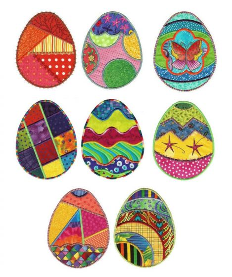 Fun funky easter eggs applique machine embroidery designs