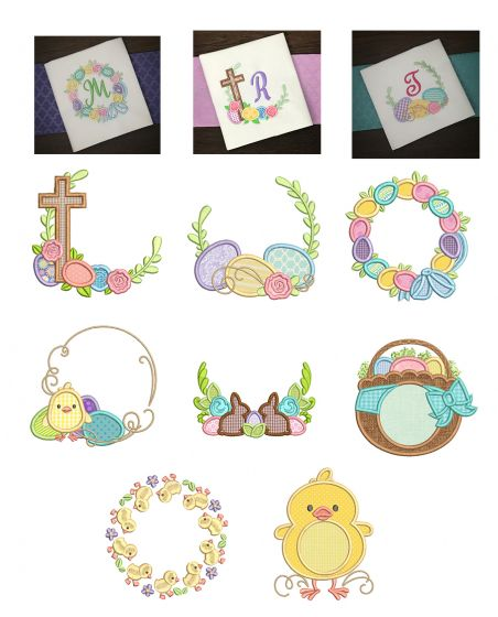 Easter Monogram Frames Machine Embroidery Designs By JuJu