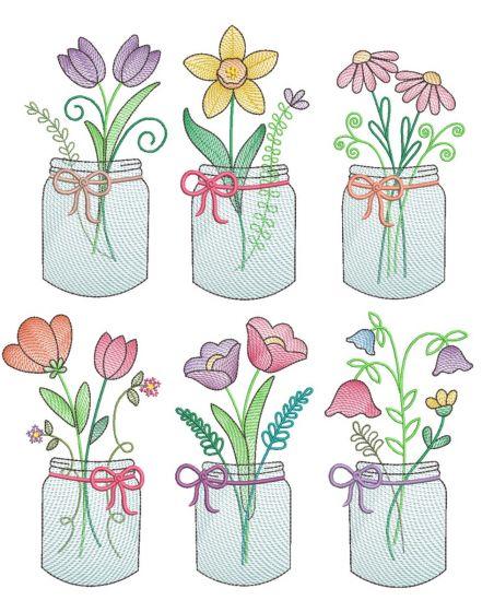 Spring Sketch Mason Jars 2