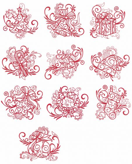 Swirly Christmas Redwork Machine Embroidery Designs by JuJu