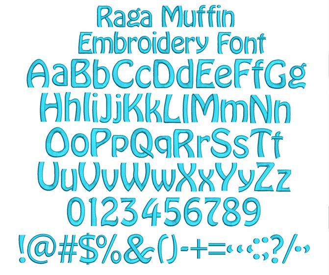Ragamuffin Embroidery Font Machine Embroidery Designs by JuJu
