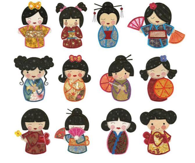 Japanese kokeshi dolls applique machine embroidery designs