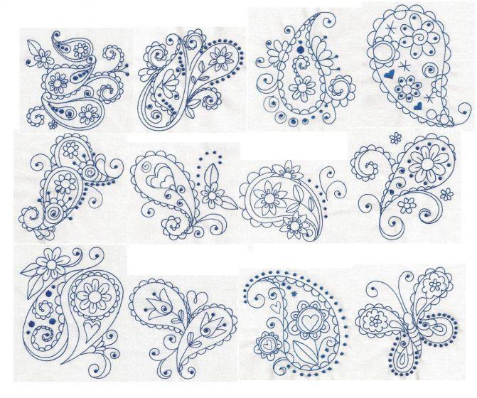 Redwork paisley machine embroidery designs