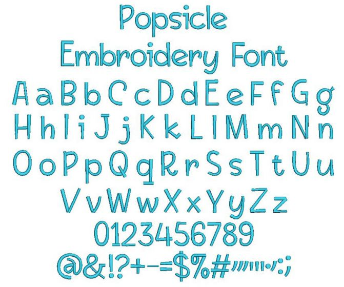 Popsicle Embroidery Font