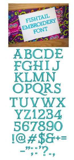 Fishtail Embroidery Font Designs by JuJu Machine Embroidery Designs monograms and alphabets